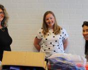 Roelie Renzema, Huong Nguyen, Chantal Bos, Chantal Rotaryclub Lelystad en de VN apotheek Lelystad schenken stichting SchOOL € 1.500